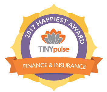 "Tiny Pulse: Happiest Company Award ""According to TinyPulse, TinyPulse is a leading employee engagement platform that gives leaders online tools to measure and improve company culture, confidential employee surveys are conducted to measure key areas that make up an organization's culture and overall health. Employee responses are computed, and the award recipients are recognized by industry. PAX Financial Group was recognized as one of the Organizations with the highest average Happiness Score within the Finance and Insurance category. Click here for more information: https://www.tinypulse.com/2017-happiest-company-awards"