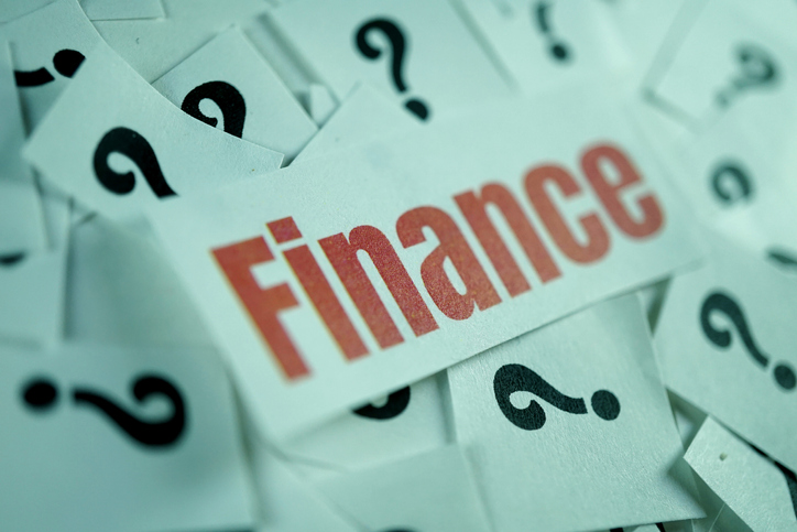 the word finance surrounded by question marks